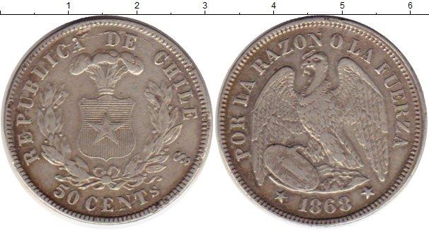 Картинка Монеты Чили 50 сентаво Серебро 1868