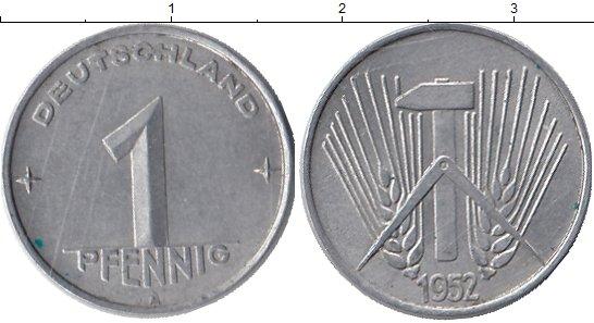 Картинка Монеты ГДР 1 пфенниг Алюминий 1952