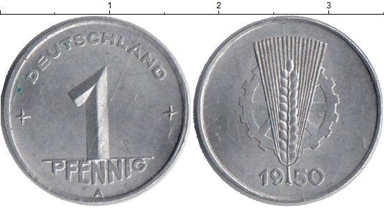 Картинка Монеты ГДР 1 пфенниг Алюминий 1950