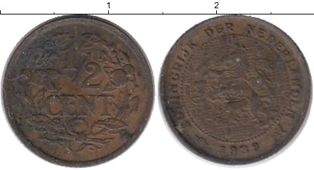 Картинка Монеты Нидерланды 1/2 цента Бронза 1938