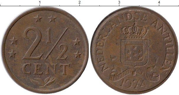 Картинка Монеты Антильские острова 2 1/2 цента Бронза 1974