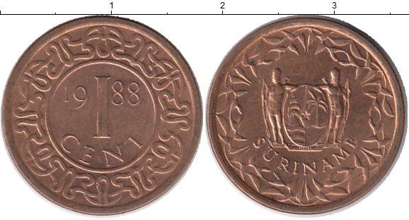 Картинка Монеты Суринам 1 цент Бронза 1988
