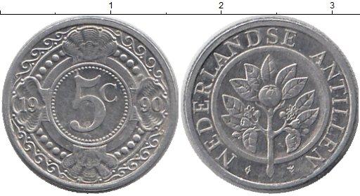 Картинка Монеты Антильские острова 5 центов Алюминий 1990