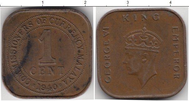 Картинка Монеты Малайя 1 цент Бронза 1940