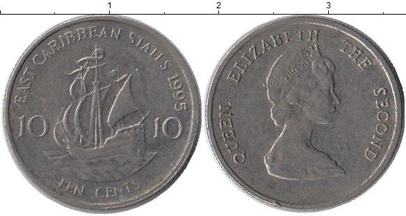 Картинка Монеты Карибы 10 центов Медно-никель 1995