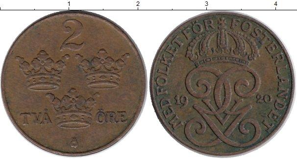 Картинка Монеты Швеция 2 эре Бронза 1920