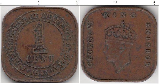 Картинка Монеты Малайя 1 цент Бронза 1945