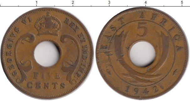 Картинка Монеты Восточная Африка 5 центов Бронза 1942