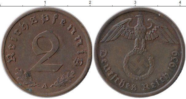 Картинка Монеты Третий Рейх 2 пфеннига Бронза 1939
