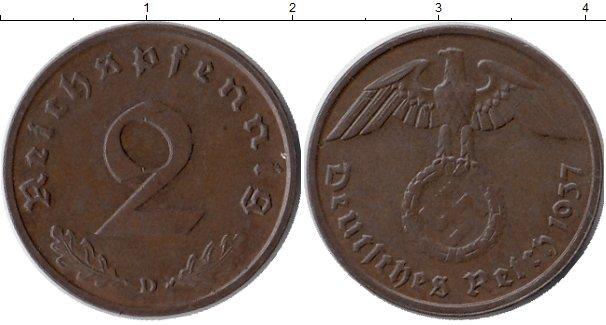 Картинка Монеты Третий Рейх 2 пфеннига Бронза 1937