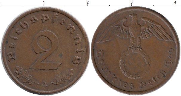 Картинка Монеты Третий Рейх 2 пфеннига Бронза 1940