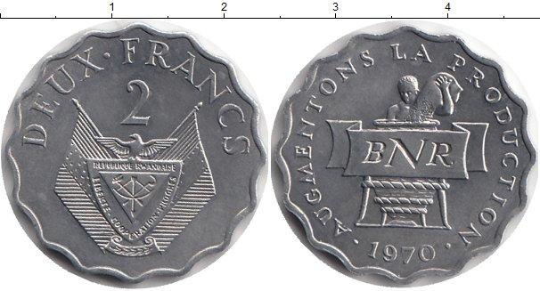 Картинка Монеты Руанда 2 франка Алюминий 1970