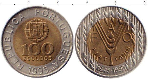 Картинка Монеты Португалия 100 эскудо Биметалл 1995