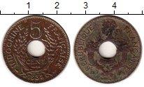 Изображение Монеты Франция Индокитай 5 центов 1938 Медно-никель XF-