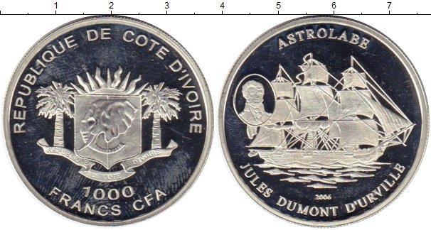 Картинка Монеты Кот-д`Ивуар 1.000 франков Серебро 2006