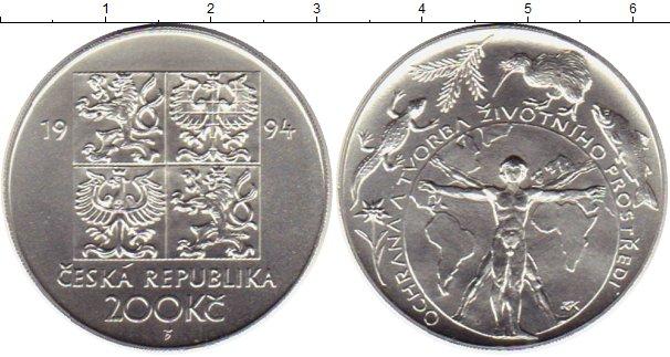 Картинка Монеты Чехия 200 крон Серебро 1994