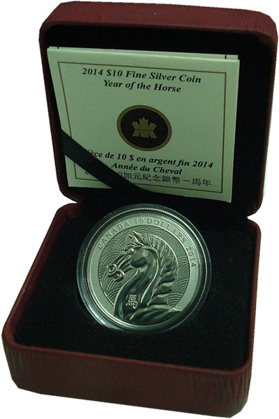 Изображение Подарочные монеты Канада 10 долларов 2014 Серебро Proof Год лошади. Серебро