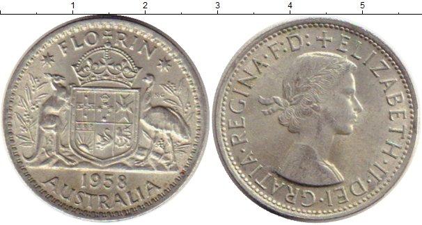 Картинка Монеты Австралия 1 флорин Серебро 1958