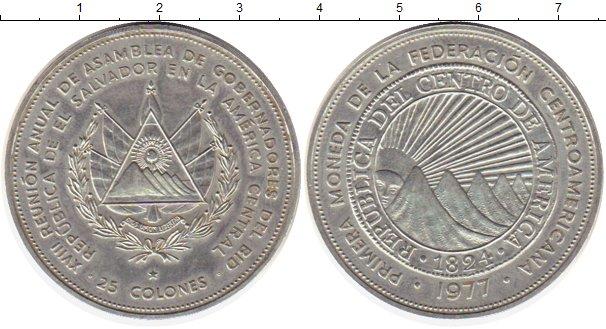 Картинка Монеты Сальвадор 25 колон Серебро 1977