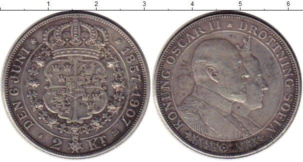Картинка Монеты Швеция 2 кроны Серебро 1907