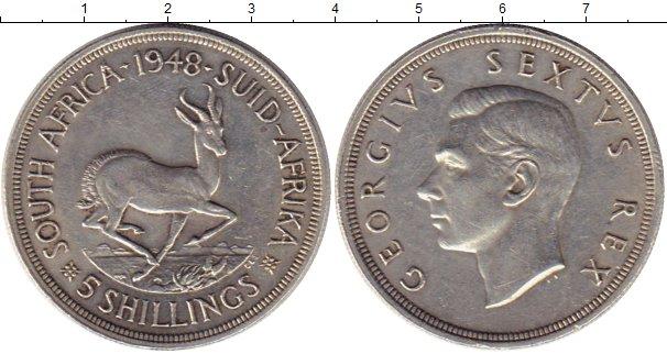 Картинка Монеты ЮАР 5 шиллингов Серебро 1948