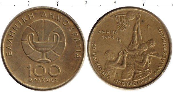 Картинка Монеты Греция 100 драхм Латунь 1998