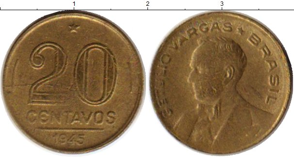 Картинка Монеты Бразилия 20 сентаво Латунь 1945