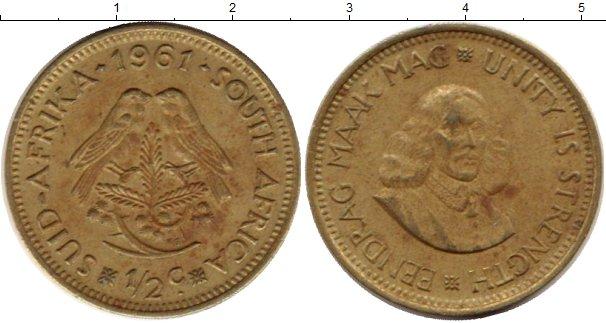 Картинка Монеты ЮАР 1/2 цента Латунь 1981