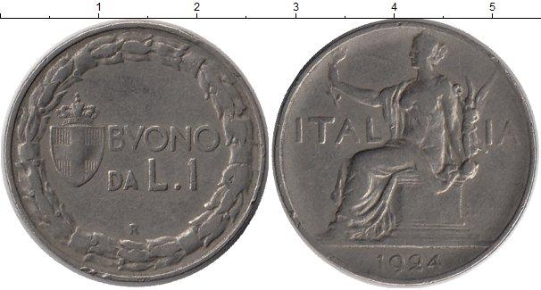Картинка Монеты Италия 1 лира Медно-никель 1924
