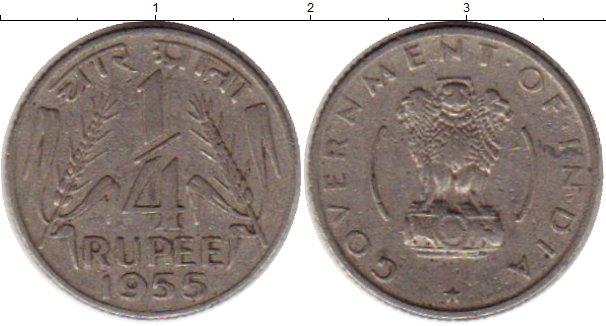 Картинка Монеты Индия 1/4 рупии Медно-никель 1955