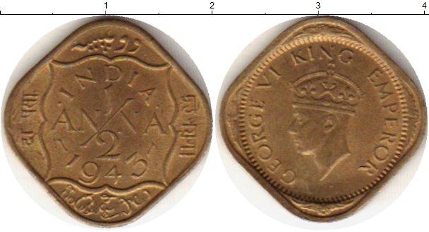 Картинка Монеты Индия 1/2 анны Латунь 1943