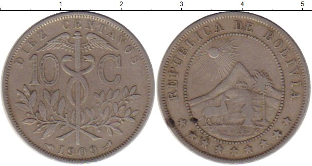 Картинка Монеты Боливия 10 сентаво Медно-никель 1909