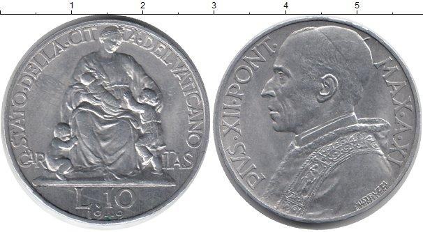 Картинка Монеты Ватикан 10 лир Алюминий 1949