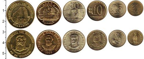 Изображение Наборы монет Парагвай 2 евро 1993 Латунь UNC В наборе 6 монет ном