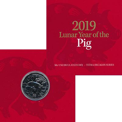 Изображение Подарочные монеты Австралия 50 центов 2019 Медно-никель UNC Год свиньи. Оригинал