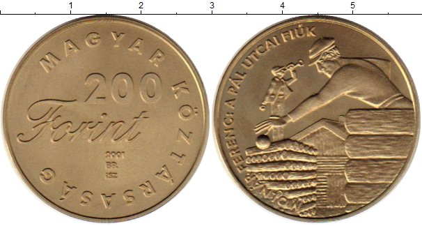 Картинка Монеты Венгрия 200 форинтов Латунь 2001