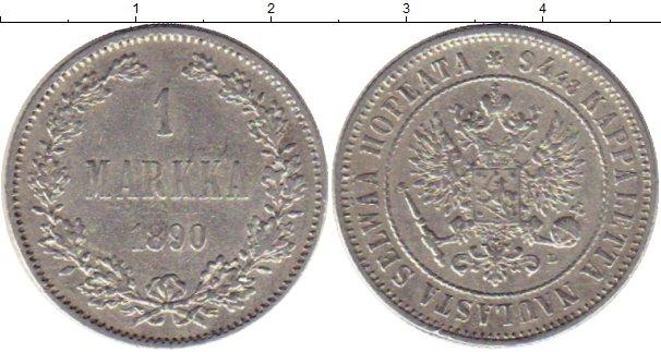 Картинка Монеты 1881 – 1894 Александр III 1 марка Серебро 1890
