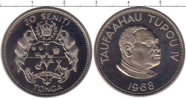 Картинка Монеты Тонга 20 сенити Медно-никель 1968