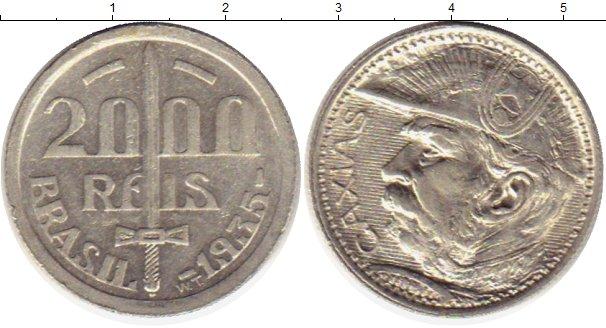 Картинка Монеты Бразилия 2.000 рейс Серебро 1935