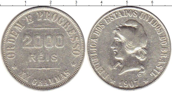 Картинка Монеты Бразилия 2.000 рейс Серебро 1907