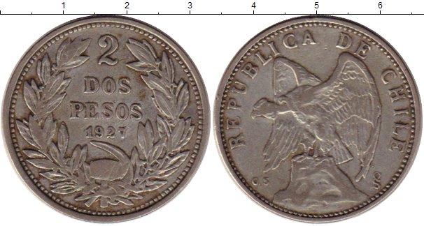 Картинка Монеты Чили 2 песо Серебро 1927