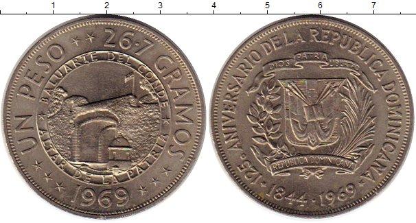 Картинка Монеты Доминиканская республика 1 песо Медно-никель 1969