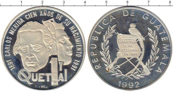 Картинка Монеты Гватемала 1 кетцаль Серебро 1992