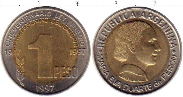 Картинка Монеты Аргентина 1 песо Биметалл 1997