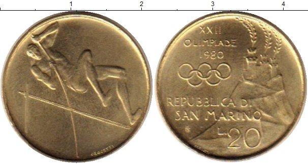 Картинка Монеты Сан-Марино 20 лир Латунь 1980