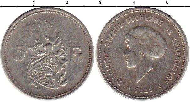 Картинка Монеты Люксембург 5 франков Серебро 1929