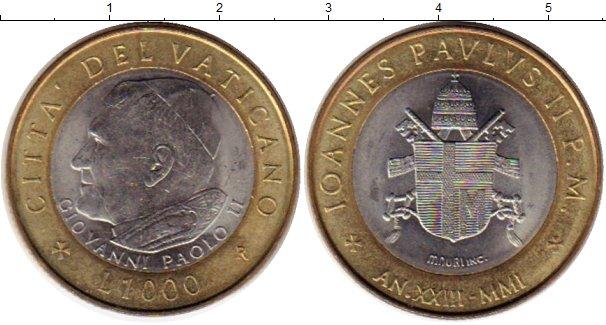 Картинка Монеты Ватикан 1.000 лир Биметалл 2001