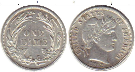 Картинка Монеты США 1 дайм Серебро 1912