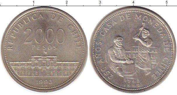 Картинка Монеты Чили 2.000 песо Серебро 1993