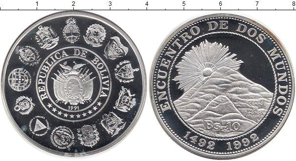 Картинка Монеты Боливия 10 боливиано Серебро 1991